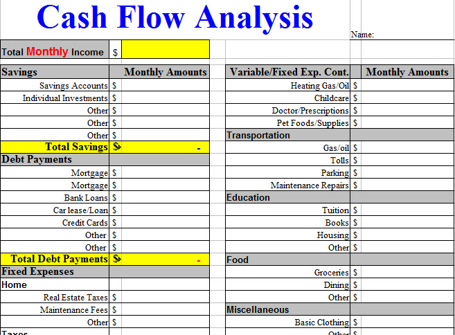 Cash Flow Analysis Worksheet Template  Nutrition Management